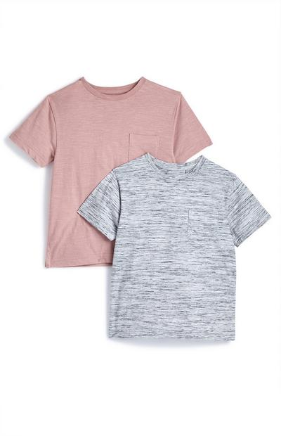 Younger Boy Pink And Grey T-Shirt 2 Pack