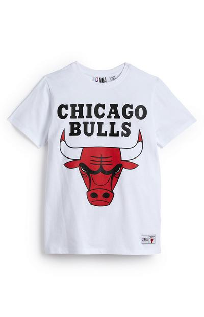 Older Boy White NBA Chicago Bulls T-Shirt