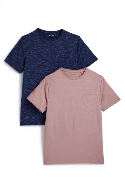 Older Boy Navy And Pink T-Shirts 2 Pack
