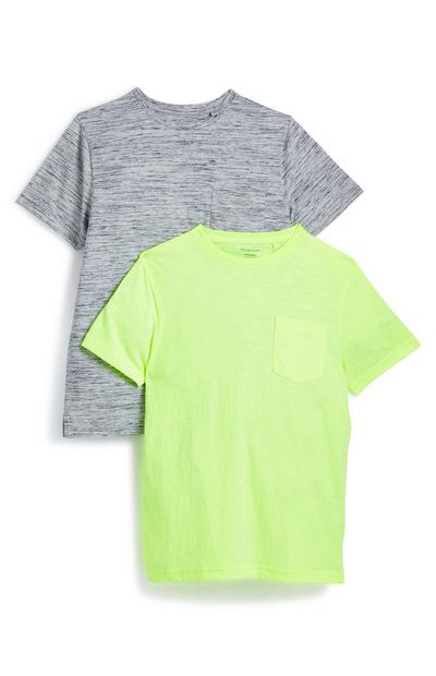 Older Boy Grey And Neon Green T-Shirt 2 Pack