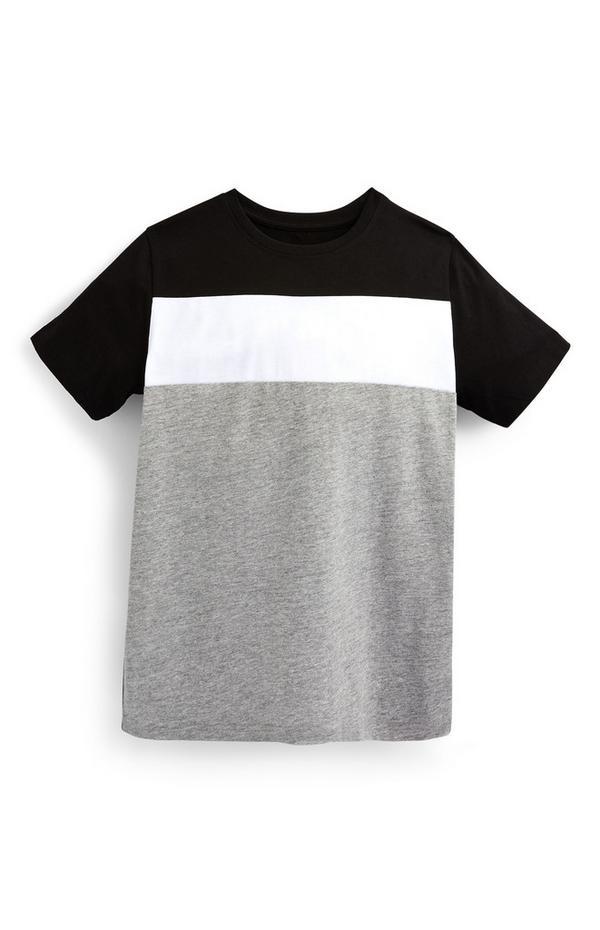 Gestreiftes T-Shirt in Grau und Schwarz (Teeny Boys)