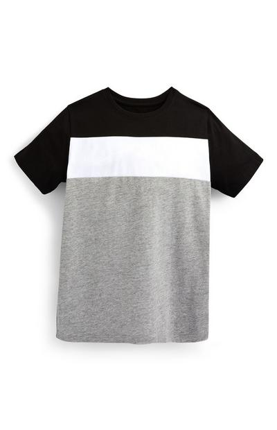 Older Boy Gray And Black Striped T-Shirt