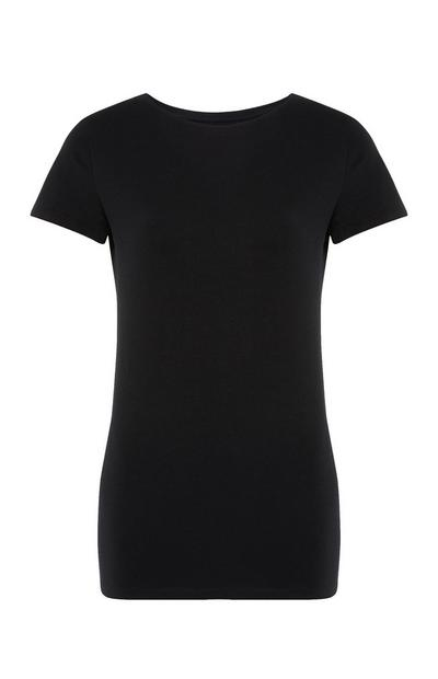 Black Stretch Crew Neck T-Shirt