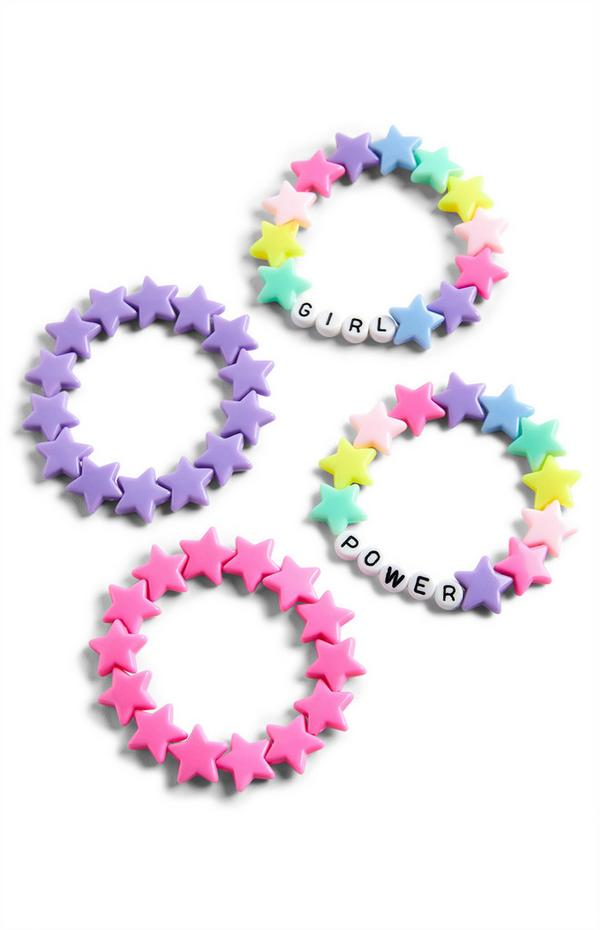 Pink And Purple Plastic Bracelet Set