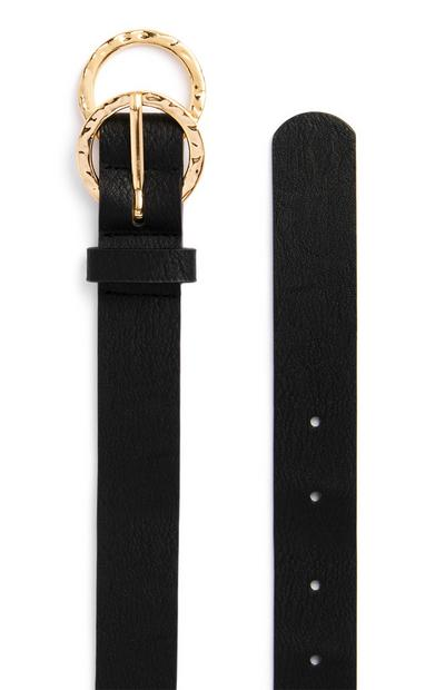 Black Mini Overlapping Infinity Buckle Belt