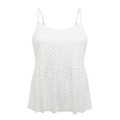 Camiseta de tirantes blanca de lunares con péplum
