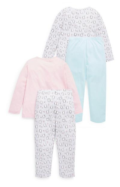 Younger Girl Cat Pyjamas 2 Pack