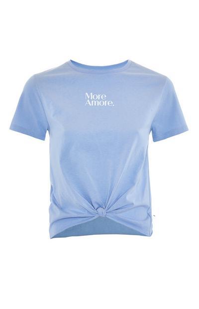 Blue Front Knot Motif Print T-Shirt
