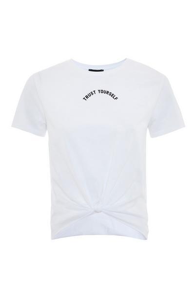 White Knot Front Motif Print T-Shirt