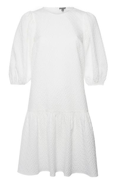 White Textured Puff Sleeve Dress