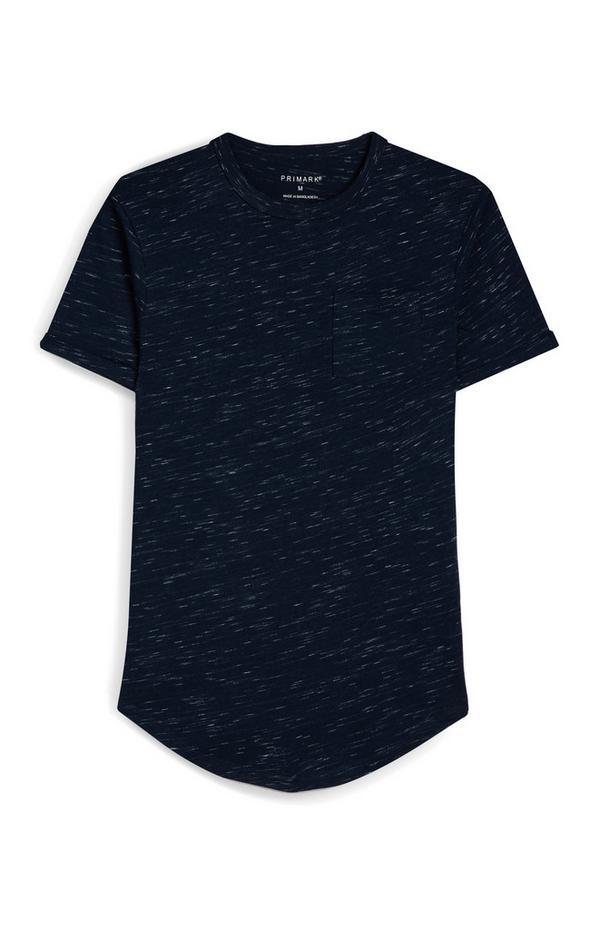 Gesprenkeltes T-Shirt mit Brusttasche in Marineblau