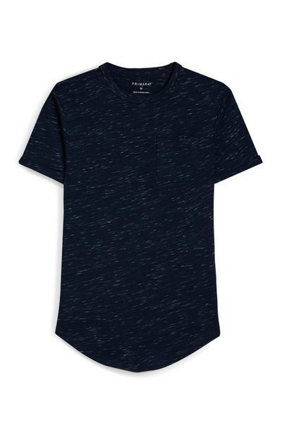 Marineblauw gespikkeld T-shirt met korte mouwen en borstzakje