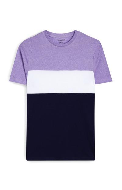 T-shirt violet, blanc et noir à motif color block
