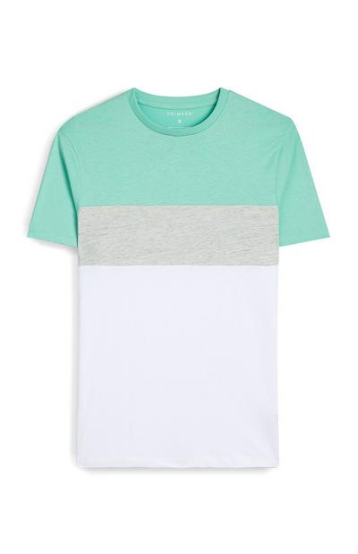Mint, Gray And White Color Block T-Shirt
