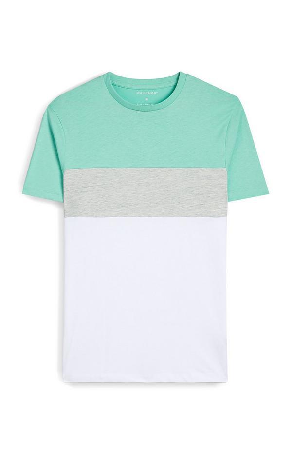 T-shirt vert menthe et blanc color block