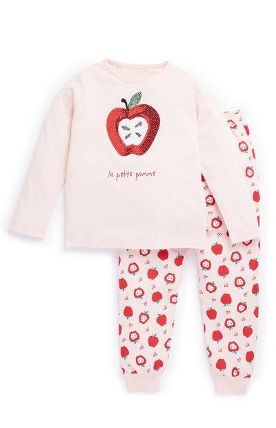 Younger Girl Pink Apple Pyjama Set