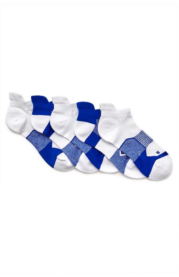 5-Pack White And Blue Performance Socks
