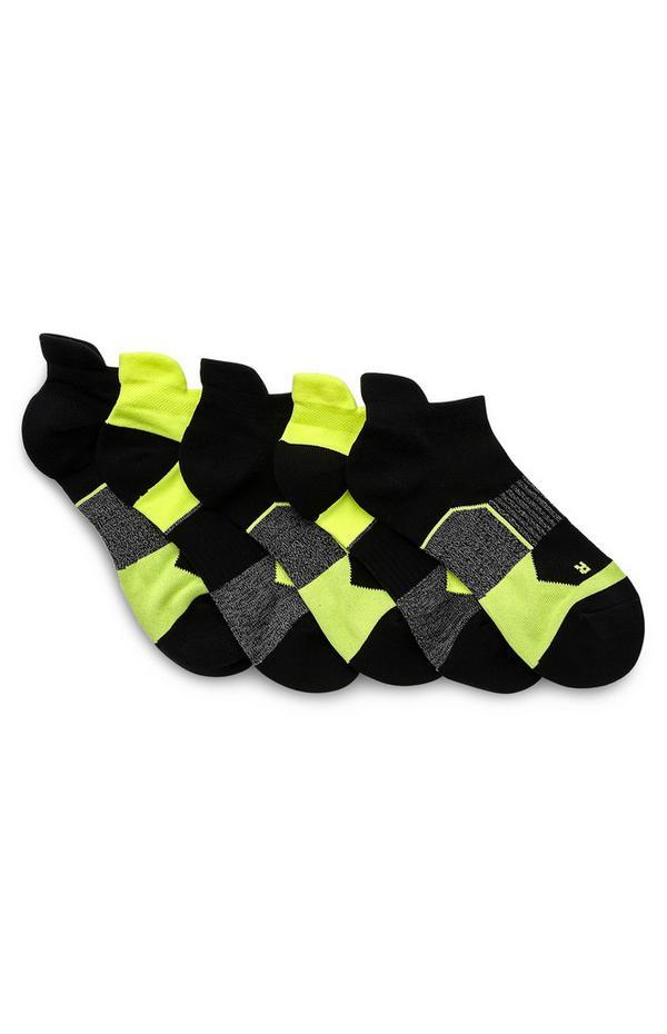 Črno-zelene športne nogavice, 5 parov