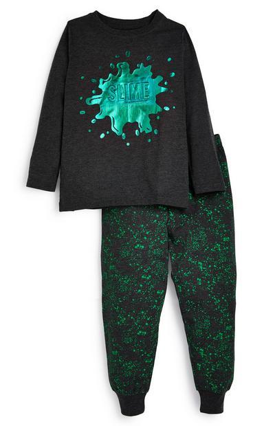 Schwarzer Pyjama mit Schleim-Print (kleine Jungen)