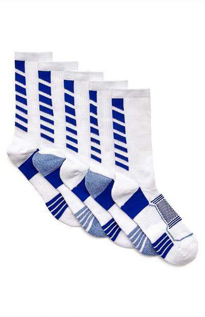 Bele športne nogavice, 5 parov