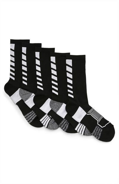 Sportieve zwarte sokken, 5 paar