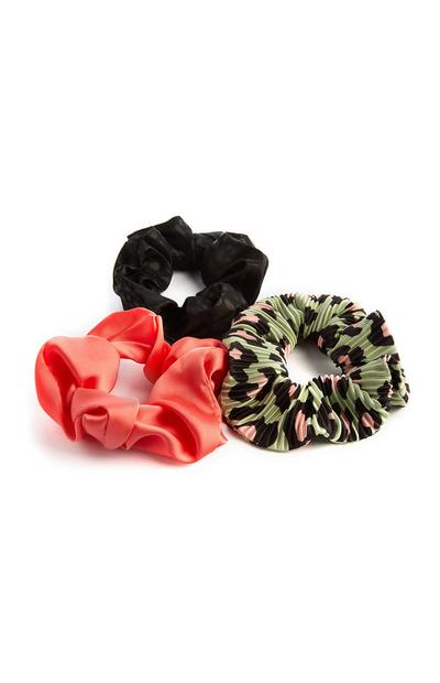Coral Green And Black Satin Scrunchies 3Pk