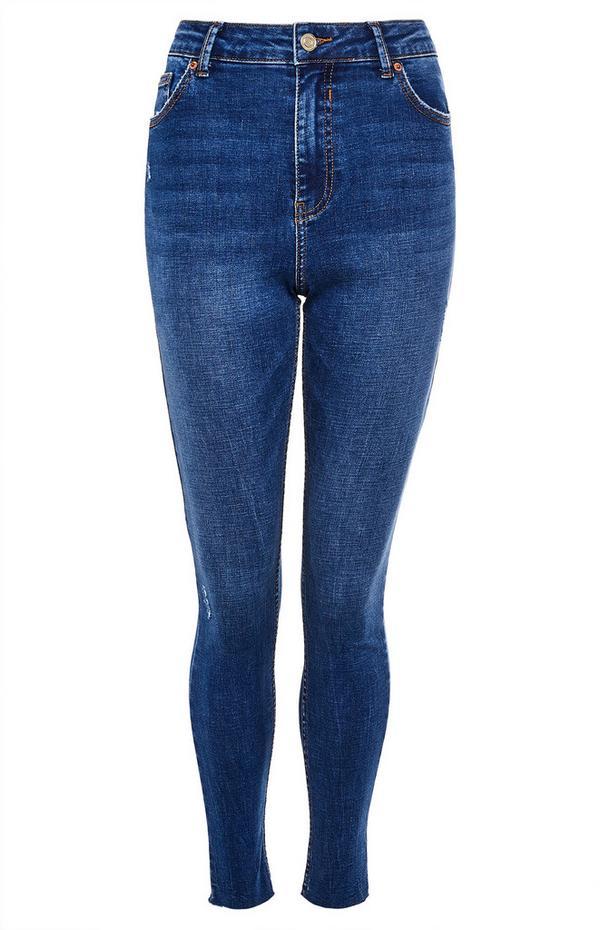Blaue, knöchellange High-Waist-Skinny-Jeans im Used-Look