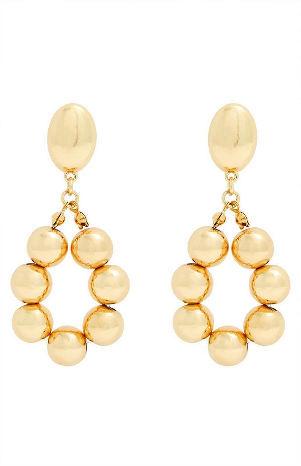 Gold Bead Oval Drop Earrings