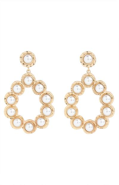Goldtone Mini Pearl Knocker Earrings