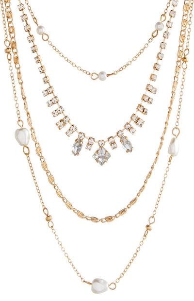 Multi Row Diamond And Pearl Necklace