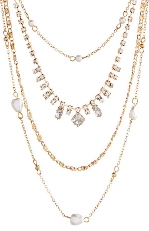 Collar con varias cadenas, strass y perlas