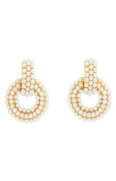 Gold Pearl Circle Drop Earrings