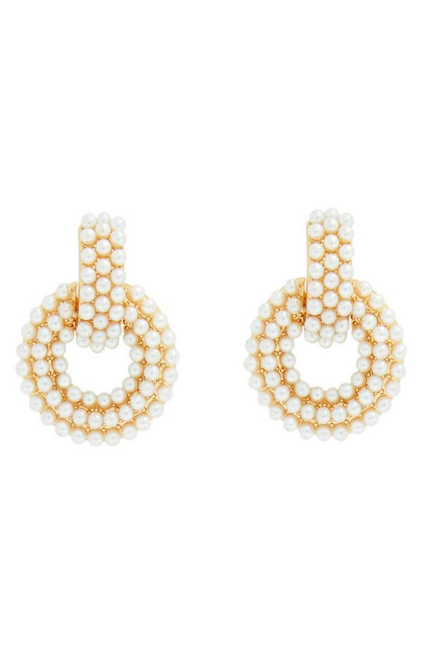 Gold Pearl Circle Drop Earrings