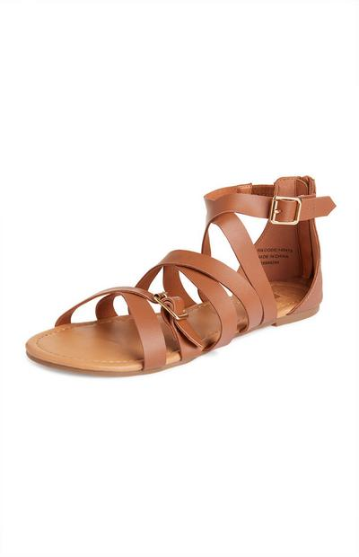 Tan Buckle Gladiator Sandals