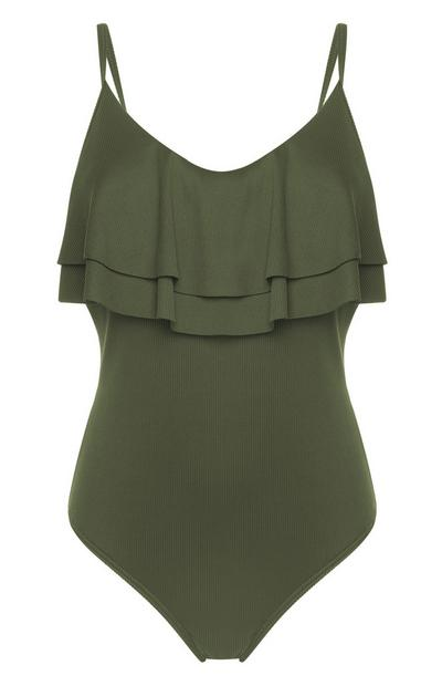 Olive Ruffled Control Swimsuit