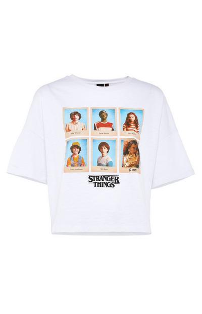 T-shirt blanc avec personnages Stranger Things