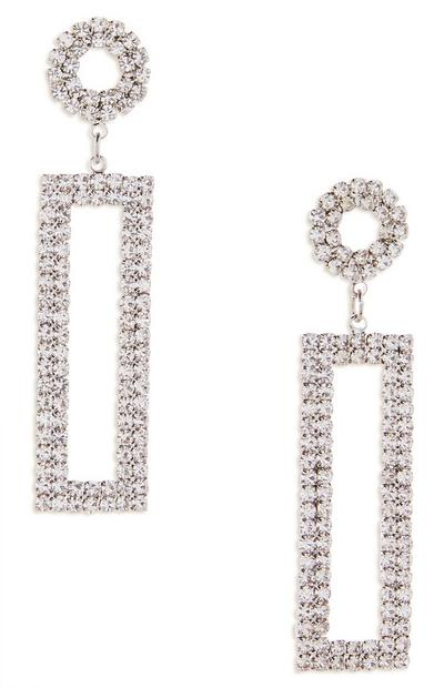 Long Rectangle Diamond Drop Earrings