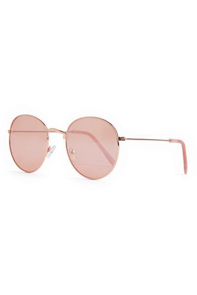 Ronde zonnebril met poederroze getinte glazen