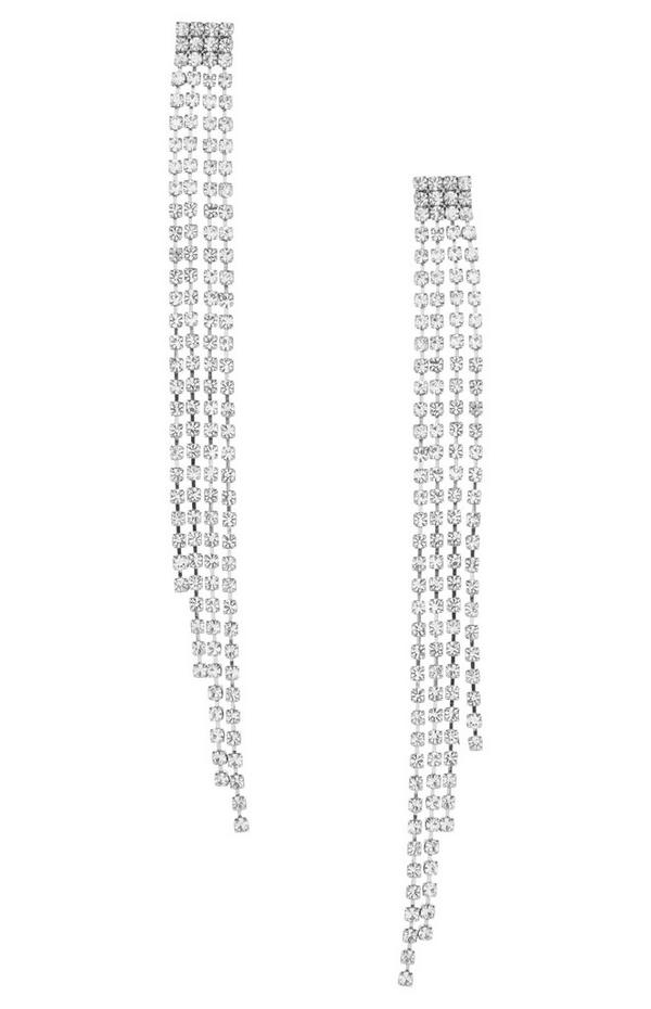 Silberfarbene Hängeohrringe mit Zierketten