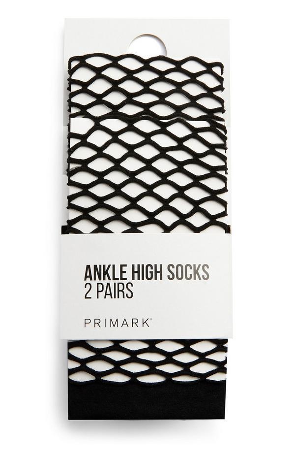 2-Pack Black Fishnet Ankle Socks