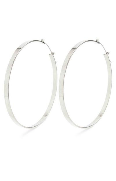 Silver Extra Large Flat Hoop Earrings