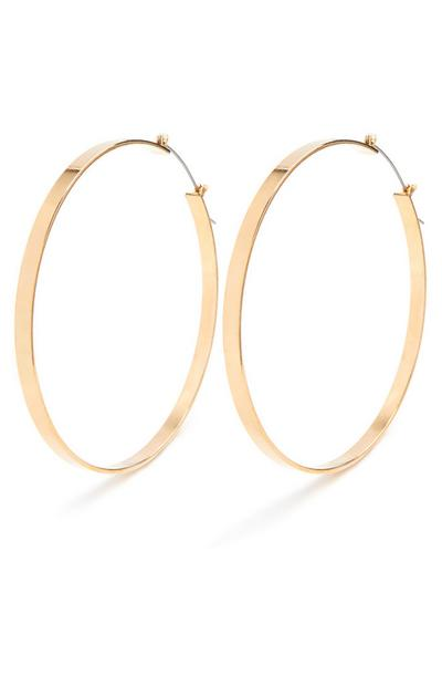 Gold Extra Large Flat Hoop Earrings