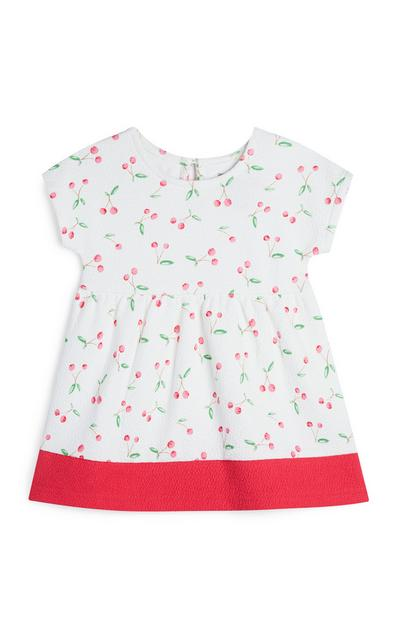 Baby Girl White Cherry Print Dress