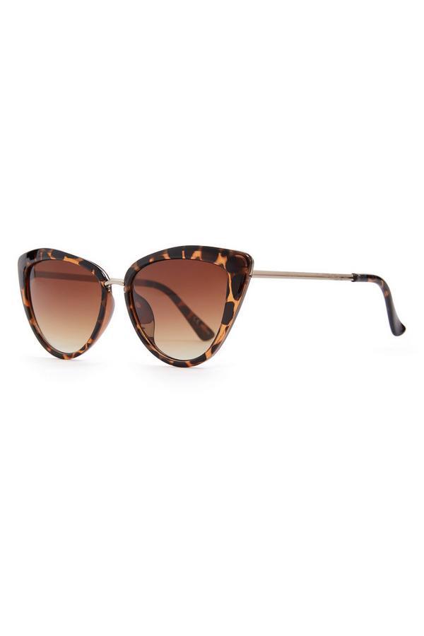 Faux Tortoiseshell Metal Trim Cat Eye Sunglasses