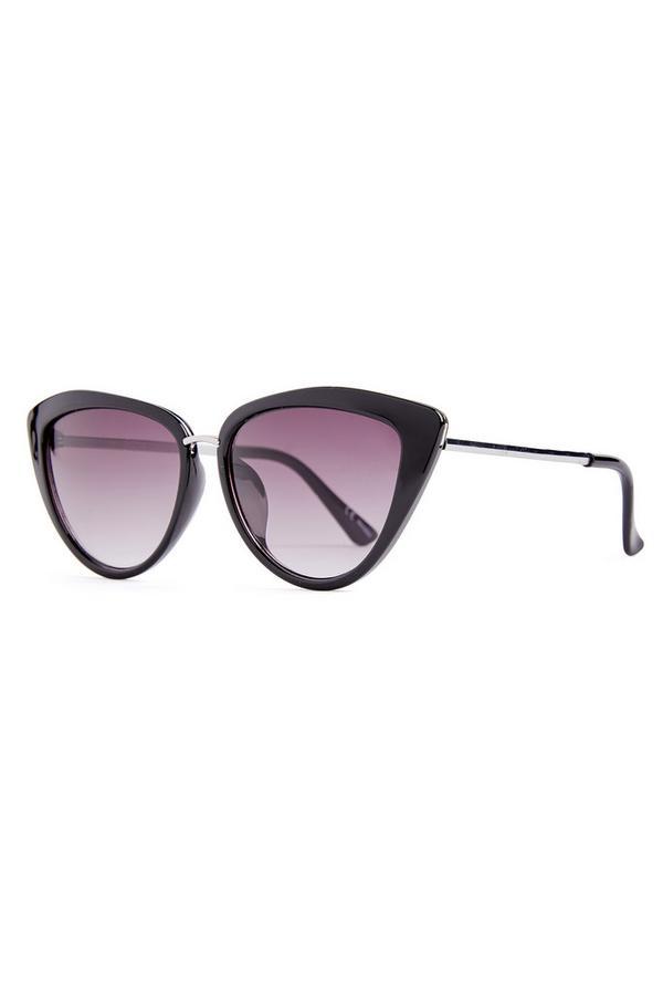 Black Metal Trim Cat Eye Sunglasses