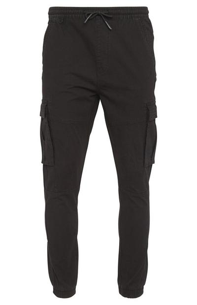 Black Canvas Cuffed Cargo Pants