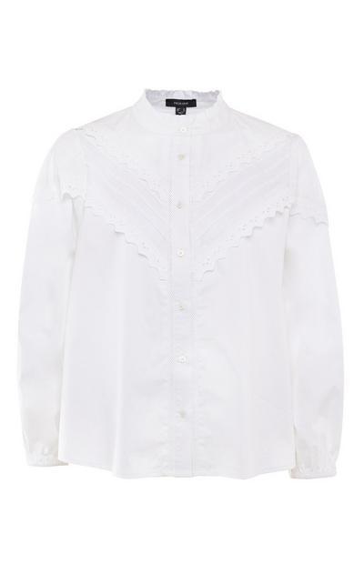 Camisa estilo vitoriana franzidos branco
