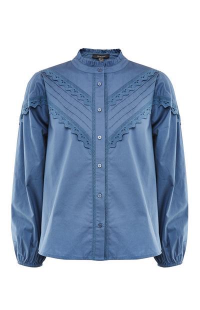 Blauw Victoriaans overhemd met ruches