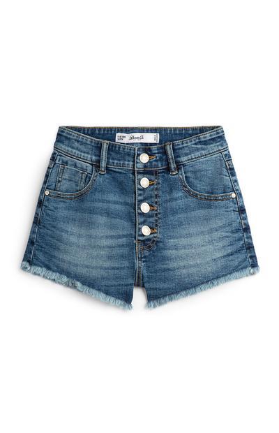 Denim High Waisted Button Up Shorts