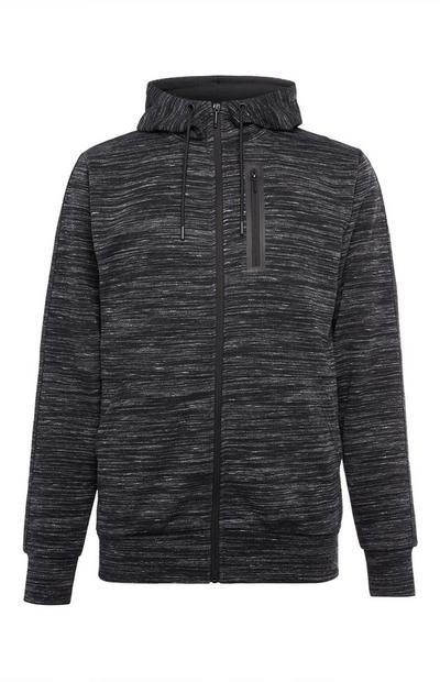 Black Textured Sports Zip Hoodie